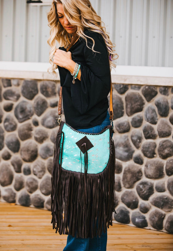Tooled Cross Body Cowhide Purse