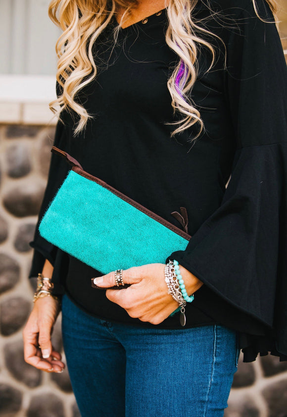 Cowhide Leather Clutch with Wristlet