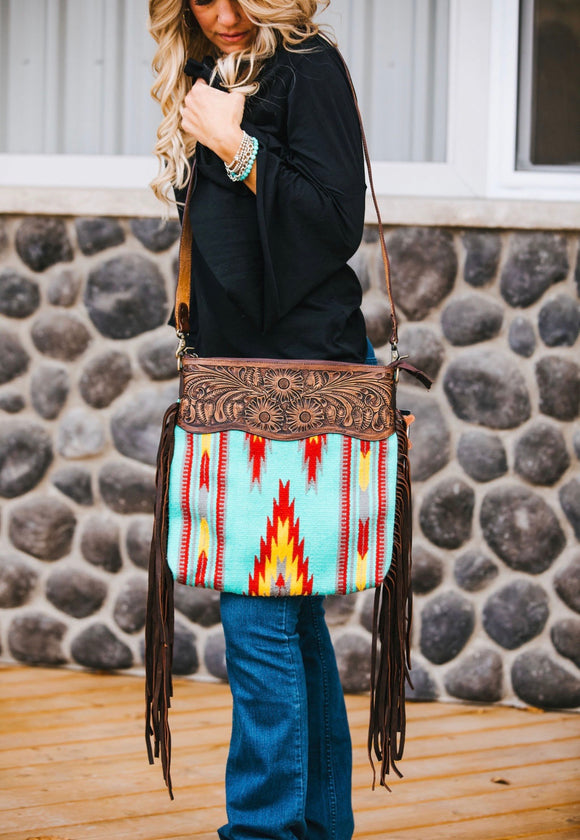 Tooled Saddle Bag with Fringe