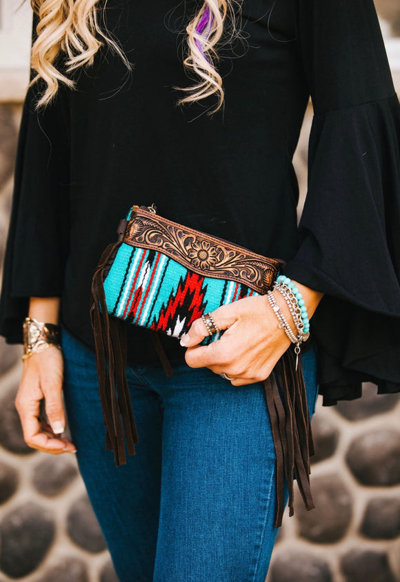 Tooled Saddle Bag Clutch Wristlet