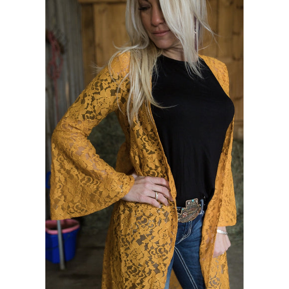 KCD Lace Mustard Duster with Bell Sleeves