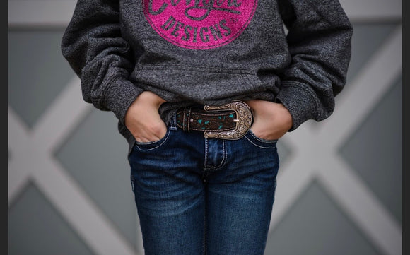 Kids Leather Ariat Belt with bling