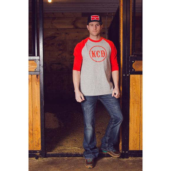 KCD Mens 3/4 Sleeve - Nicky Logo - Red/Grey