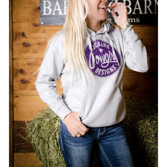 KCD Womens Hoodie - Sparkle Philly - Purple/Heather White