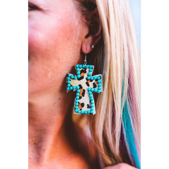 Leopard Cross with Beads