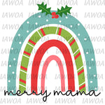 Christmas 407 - Merry Mama Rainbow Doodle Draw - Sublimation Transfer Set/Ready To Press Sublimation Transfer