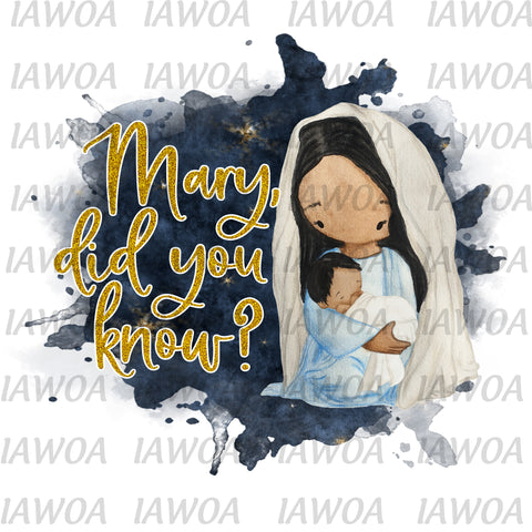 Christmas 410 - Mary Did you Know Baby Jesus Manger - Sublimation Transfer Set/Ready To Press Sublimation Transfer