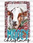 Christmas 411 - Mooey Christmas Cow Farm Christmas - Sublimation Transfer Set/Ready To Press Sublimation Transfer