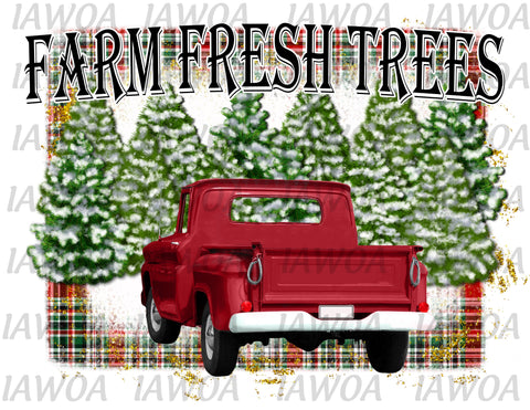 Christmas 415 - Farm Fresh Trees Christmas Trees Big Red Truck - Sublimation Transfer Set/Ready To Press Sublimation Transfer
