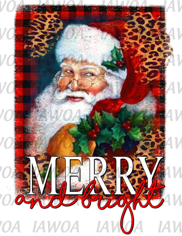 Christmas 416 - Merry And Bright Santa Claus Portrait Buffalo Plaid - Sublimation Transfer Set/Ready To Press Sublimation Transfer