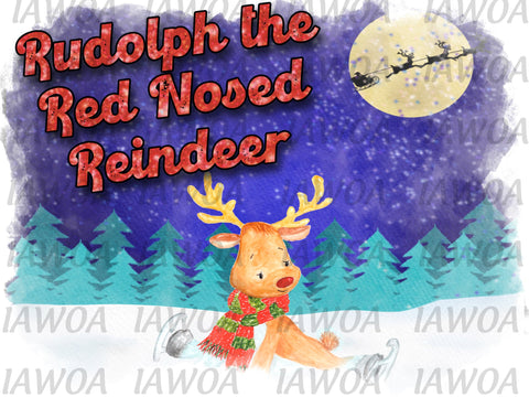 Christmas 433 - Rudolph The Red Nosed Reindeer Kids Shirt Design- Sublimation Transfer Set/Ready To Press Sublimation Transfer