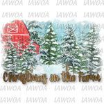 Christmas 435 - Christmas on the Farm Red Barn Christmas - Sublimation Transfer Set/Ready To Press Sublimation Transfer