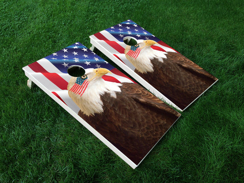America 14 American Flag Eagle Military Cornhole Wrap Decal Sticker SET OF 2 PRINTS