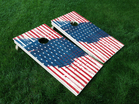 America 03 American Flag Eagle Military Cornhole Wrap Decal Sticker SET OF 2 PRINTS