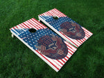 America 02 American Flag Eagle Military Cornhole Wrap Decal Sticker SET OF 2 PRINTS