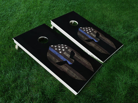Thin Blue Line 06 Punisher American Flag Police Cornhole Wrap Decal Sticker SET OF 2 PRINTS