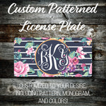 Personalized Monogrammed Custom License Plate (Pattern #261), Car Tag, Vanity license plate, Floral & Stripes Watercolor