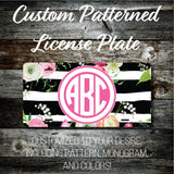Personalized Monogrammed Custom License Plate (Pattern #268), Car Tag, Vanity license plate, Floral & Stripes Watercolor