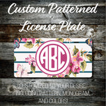 Personalized Monogrammed Custom License Plate (Pattern #269), Car Tag, Vanity license plate, Floral & Stripes Watercolor