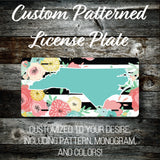 Personalized Monogrammed Custom North Carolina License Plate (Pattern #256NC), Car Tag, Vanity license plate, Floral & Stripes Watercolor