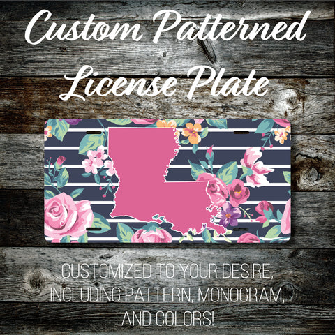 Personalized Monogrammed Custom Louisiana License Plate (Pattern #261LA), Car Tag, Vanity license plate, Floral & Stripes Watercolor