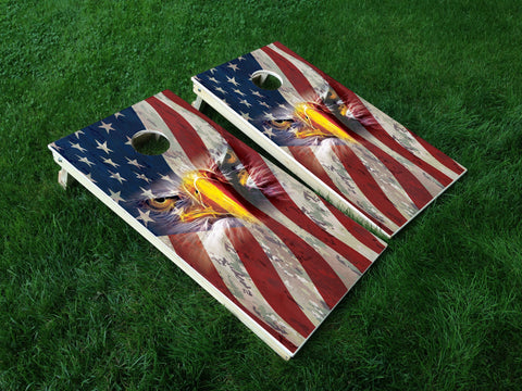 America 19 Eagle American Flag Military Cornhole Wrap Decal Sticker SET OF 2 PRINTS