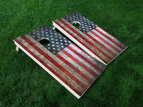 America 08 American Flag Eagle Military Cornhole Wrap Decal Sticker SET OF 2 PRINTS