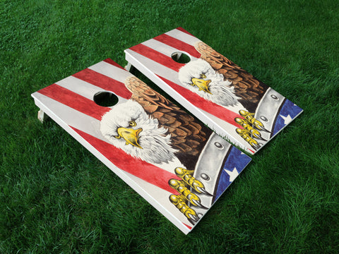 America 07 American Flag Eagle Military Cornhole Wrap Decal Sticker SET OF 2 PRINTS