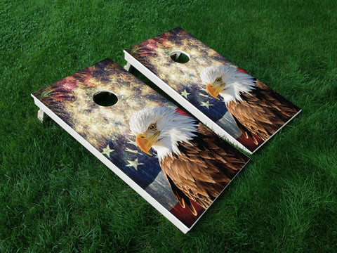 America 06 American Flag Eagle Military Cornhole Wrap Decal Sticker SET OF 2 PRINTS
