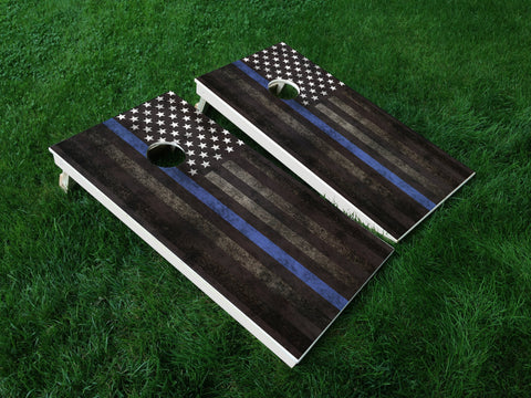 Thin Blue Line 01 Punisher American Flag Police Cornhole Wrap Decal Sticker SET OF 2 PRINTS
