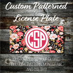 Personalized Monogrammed Custom License Plate (Pattern #262), Car Tag, Vanity license plate, Floral & Stripes Watercolor