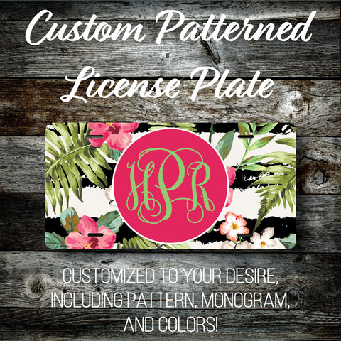 Personalized Monogrammed Custom License Plate (Pattern #263), Car Tag, Vanity license plate, Floral & Stripes Watercolor