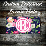 Personalized Monogrammed Custom License Plate (Pattern #267), Car Tag, Vanity license plate, Floral & Stripes Watercolor