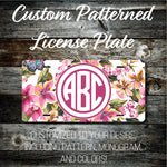 Personalized Monogrammed Custom License Plate (Pattern #270), Car Tag, Vanity license plate, Floral & Stripes Watercolor