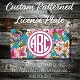 Personalized Monogrammed Custom License Plate (Pattern #271), Car Tag, Vanity license plate, Floral & Stripes Watercolor