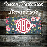 Personalized Monogrammed Custom License Plate (Pattern #272), Car Tag, Vanity license plate, Floral & Stripes Watercolor
