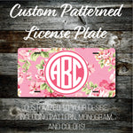 Personalized Monogrammed Custom License Plate (Pattern #273), Car Tag, Vanity license plate, Floral & Stripes Watercolor