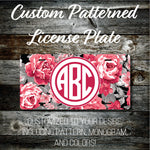 Personalized Monogrammed Custom License Plate (Pattern #274), Car Tag, Vanity license plate, Floral & Stripes Watercolor