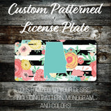 Personalized Monogrammed Custom Alabama License Plate (Pattern #256AL), Car Tag, Vanity license plate, Floral & Stripes Watercolor