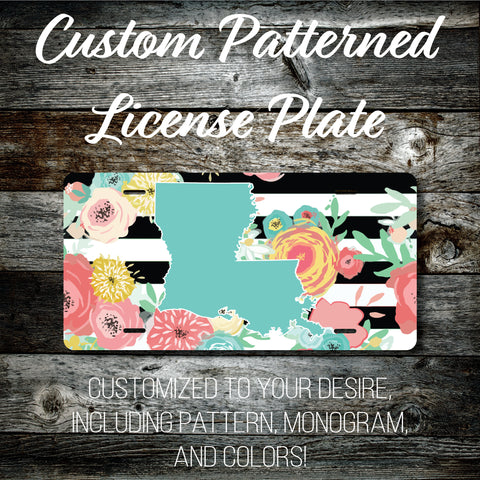Personalized Monogrammed Custom Louisiana License Plate (Pattern #256LA), Car Tag, Vanity license plate, Floral & Stripes Watercolor