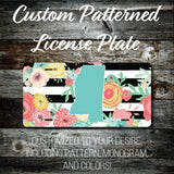 Personalized Monogrammed Custom Mississippi License Plate (Pattern #256MS), Car Tag, Vanity license plate, Floral & Stripes Watercolor