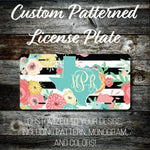 Personalized Monogrammed Custom Texas License Plate (Pattern #256TX), Car Tag, Vanity license plate, Floral & Stripes Watercolor