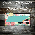 Personalized Monogrammed Custom Tennessee License Plate (Pattern #256TN), Car Tag, Vanity license plate, Floral & Stripes Watercolor