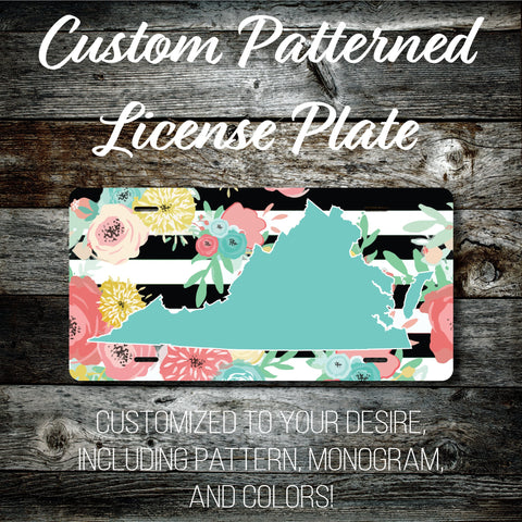 Personalized Monogrammed Custom Virginia License Plate (Pattern #256VA), Car Tag, Vanity license plate, Floral & Stripes Watercolor