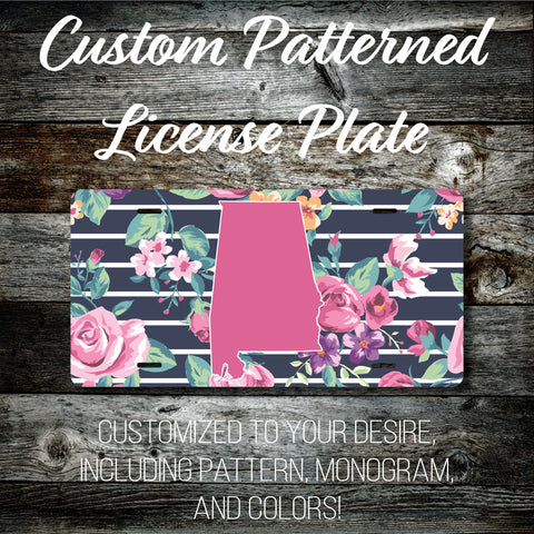 Personalized Monogrammed Custom Alabama License Plate (Pattern #261AL), Car Tag, Vanity license plate, Floral & Stripes Watercolor