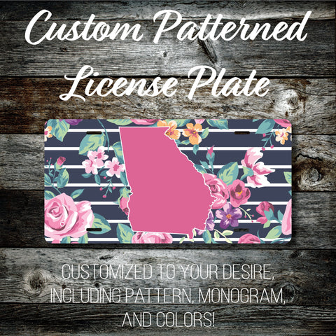 Personalized Monogrammed Custom Georgia License Plate (Pattern #261GA), Car Tag, Vanity license plate, Floral & Stripes Watercolor