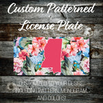 Personalized Monogrammed Custom Mississippi License Plate (Pattern #263MS), Car Tag, Vanity license plate, Floral & Stripes Watercolor