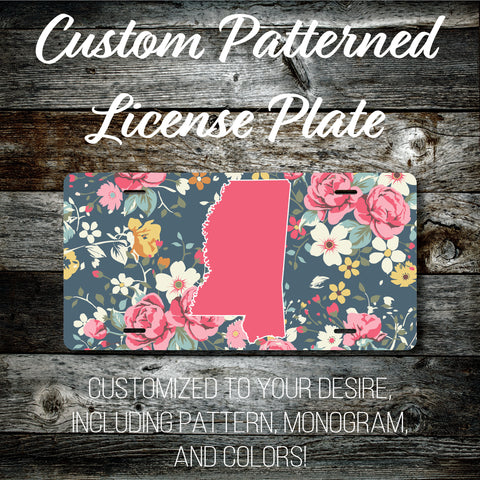 Personalized Monogrammed Custom Mississippi License Plate (Pattern #265MS), Car Tag, Vanity license plate, Floral & Stripes Watercolor