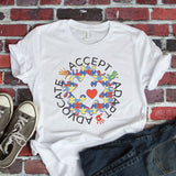 Accept Advocate Adapt - Autism Awareness Autism shirt - Sublimation Transfer Set/Ready To Press Sublimation Transfer/Sublimation Transfer