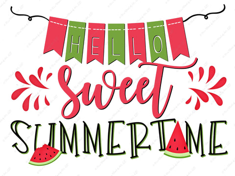 Hello Sweet Summertime - Cute Watermelon Summer Shirt - Sublimation Transfer Set/Ready To Press Sublimation Transfer/Sublimation Transfer